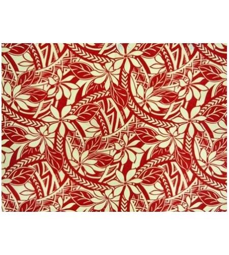 Tissu au Mètre Tattoo Tiaré Rouge Blanc 65% Polyester - 35% Cotton Largeur 110 cm