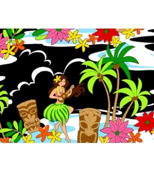 Tissu au Mètre Tiki Friends Noir 100% Coton Largeur 110 cm