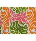 Tissu au Mètre Monstera Tiaré Rose Vert Orange 65% Polyester - 35% Cotton Largeur 110 cm