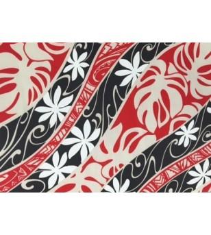 Tissu au Mètre Tatoo Tiaré Rouge Noir 65% Polyester - 35% Cotton Largeur 110 cm