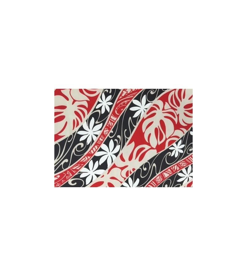 tissu au m tre tatoo tiar rouge noir 65 polyester 35 cotton largeur 110 cm esprit des iles. Black Bedroom Furniture Sets. Home Design Ideas