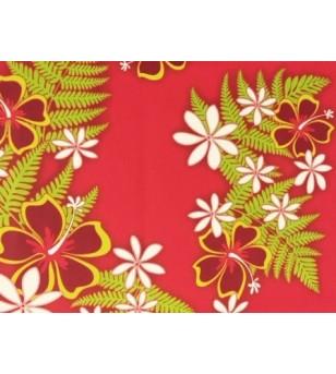 Tissu au Mètre Hibiscus Christmas Rouge 65% Polyester - 35% Cotton Largeur 110 cm