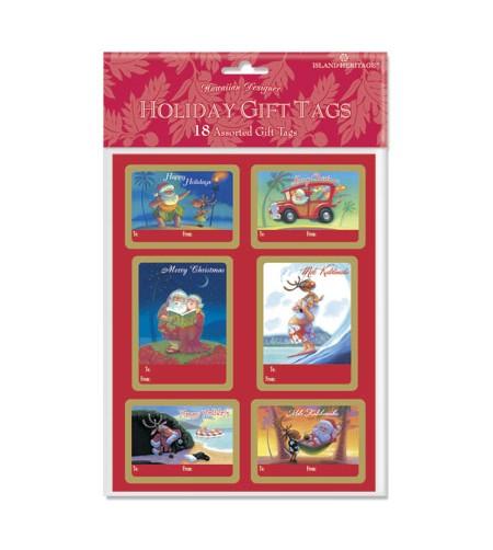 Déco Noel Pack 18 Etiquettes Santa's Holidays  UNIQUEMENT SUR COMMANDE LIVRAISON DEBUT DECEMBRE