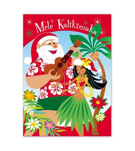 Déco Noel Boite 12 Cartes Postales Lovely Hula Santa 2 UNIQUEMENT SUR COMMANDE LIVRAISON DEBUT DECEMBRE