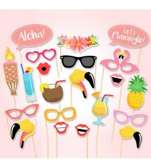Kit Déco Hawaii Tropical Summer Style 21 pcs en Papier Carton