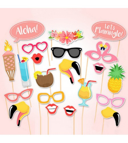 Kit Déco Hawaii Tropical Summer Style 21 pcs en Papier Carton