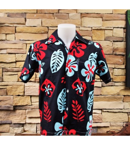 Chemise Hawaii Hibiscus Feuilles Rouge Bleu Blanc Taille S