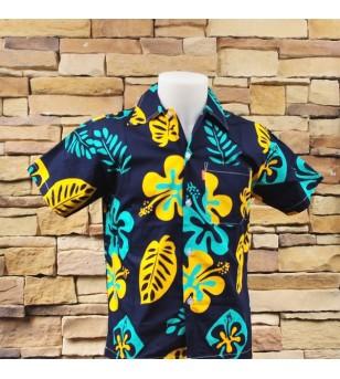 Chemise Hawaii Hibiscus Feuilles Bleu Jaune Bleu Taille S