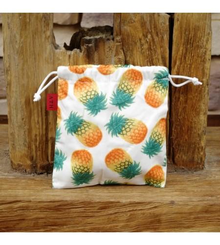Pochette Ananas Blanche Coton Souple 13.5 x 14.5 cm