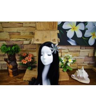 Fleurs d'oreille Tiaré Tatoo Blanche Noire 10.2cm