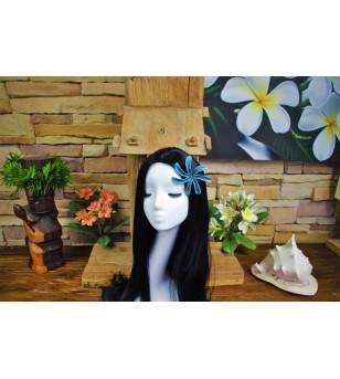 Fleurs d'oreille Tiaré Tatoo Bleu Noire 10.2cm