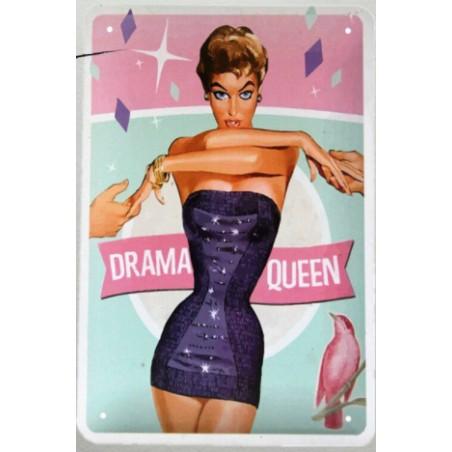 Plaque Métal Vintage Drama Queen 30*20