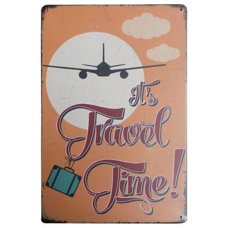 Plaque Métal Vintage It's Travel Time 30*20