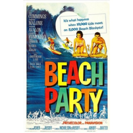 Affiche Poster Beach Party Papier Kraft Format A3 42*30