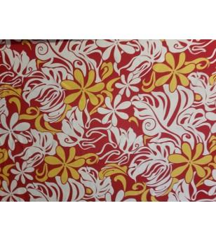 Tissu au Mètre Tiaré Monstera Rouge Blanc Jaune 100% Rayon Largeur 140 cm