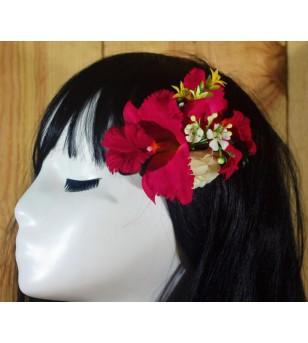 Poara, Pince Composition Florale Orchidées Fushia  12 cm