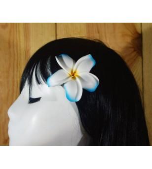 Pince Fleur Frangipanier Blanche Bleu 9cm