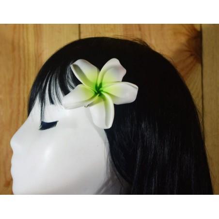 Pince Fleur Frangipanier Blanche Verte 9cm