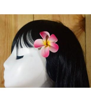 Pince Fleur Frangipanier Blanche Rose 6.4cm