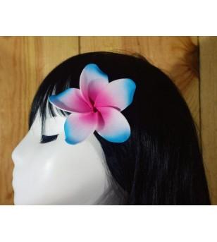Pince Fleur Frangipanier Bleu Blanche Rose 10.2cm