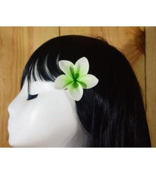 Pince Fleur Frangipanier Blanche Verte 5cm