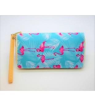 Portefeuille Cuir Synthétique Flamingo Bleu