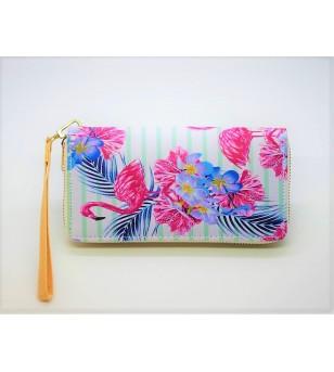 Portefeuille Cuir Synthétique Flamingo  Frangipanier Taille 19x9cm