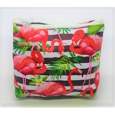 Porte Monnaie Cuir Synthétique Flamingo Jungle Taille 10x8cm
