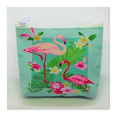 Porte Monnaie Cuir Synthétique Flamingo Frangipanier Taille 10x8cm