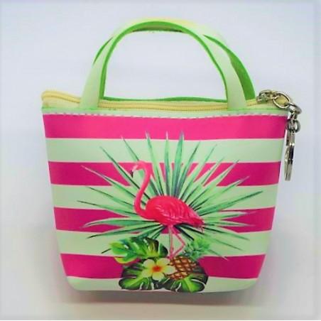 Porte Monnaie Cuir Synthétique Flamingo Tropical Taille 10x8cm