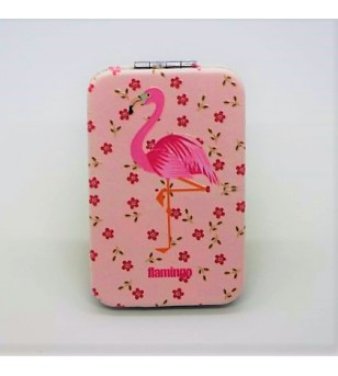 Mirroir de poche Rectangle Cuir Synthétique Flamingo Pink 9.5x6cm