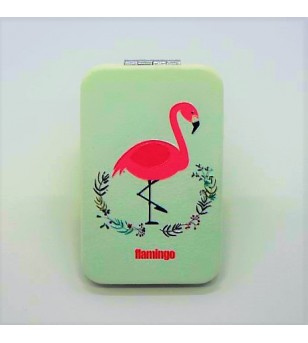 Mirroir de poche Rectangle Cuir Synthétique Flamingo Crown 9.5x6cm