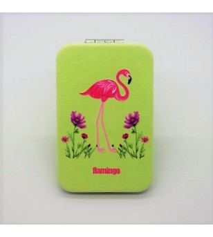 Mirroir de poche Rectangle Cuir Synthétique Flamingo Green 9.5x6cm