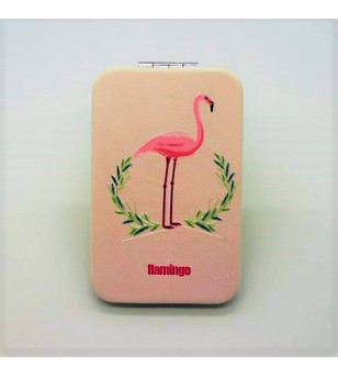 Mirroir de poche Rectangle Cuir Synthétique Flamingo Pink Crown 9.5x6cm
