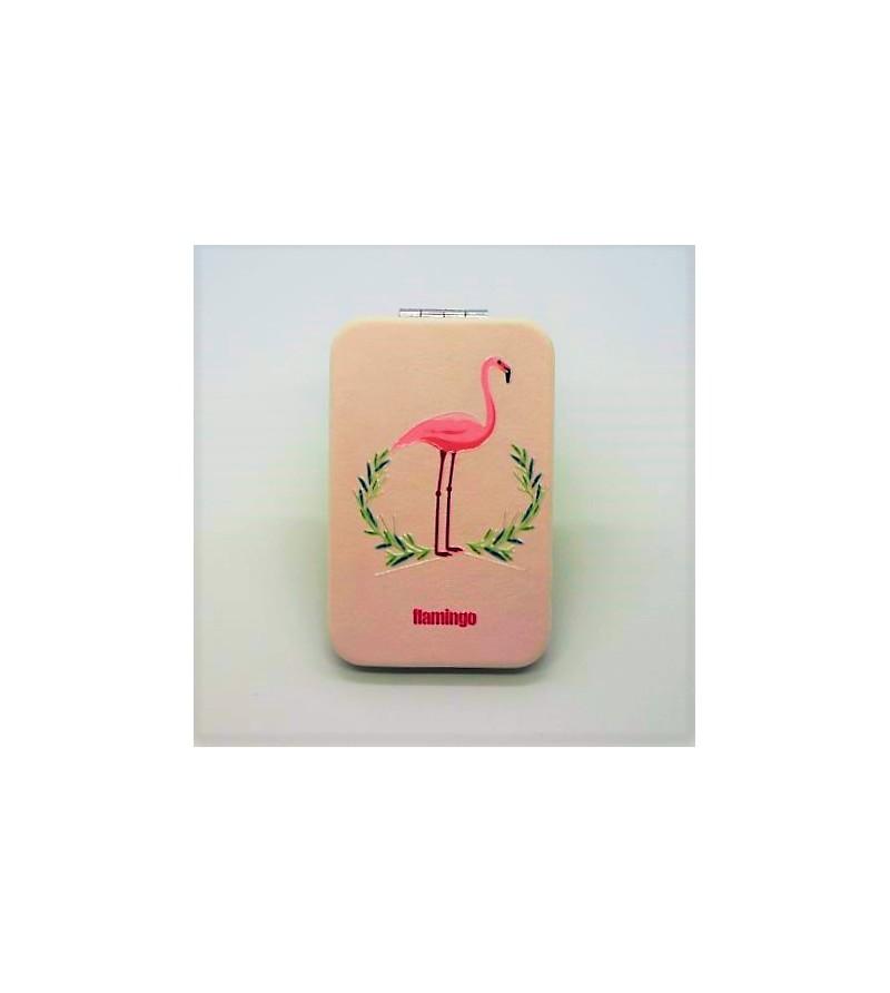 Mirroir de poche Rectangle Cuir Synthétique 9.5x6cm