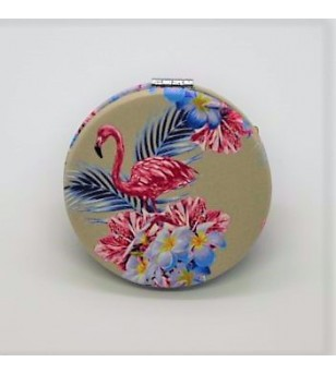 Mirroir de poche Rond Cuir Flowers Flamingo Synthétique 6.5x6.5cm