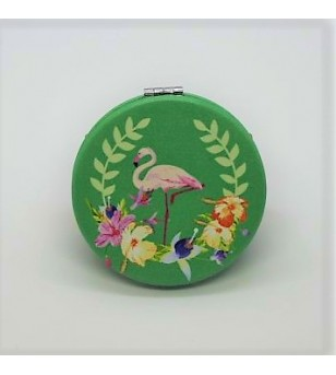 Mirroir de poche Rond Cuir Synthétique Funny Flamingo 6.5x6.5cm