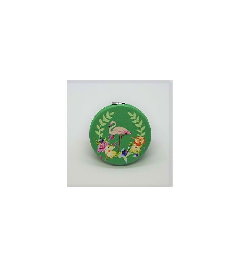 Mirroir de poche Rond Cuir Synthétique 6.5x6.5cm