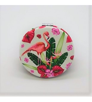 Mirroir de poche Rond Cuir Synthétique Hibiscus Flamingo 6.5x6.5cm