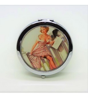 Mirroir de poche Rond Métal Pin Up 7cm