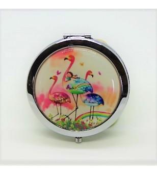 Mirroir de poche Rond Métal Flamingo 7cm