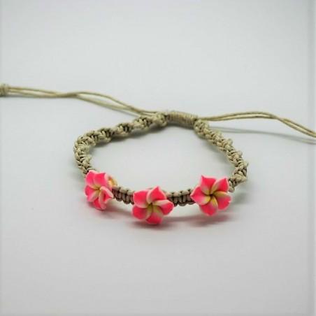 Bracelet 3 Fleurs Fimo Corde 20cm