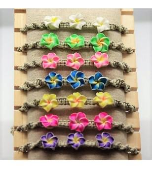 Lot 7 Bracelets Petites Fleurs Fimo Corde