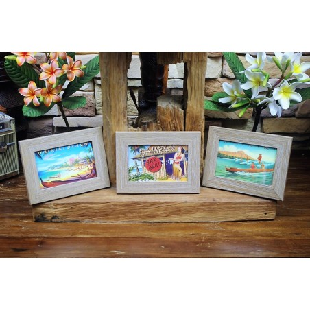 Set 3 Cadres Photos hawaii Taille 20x15x1.5cm