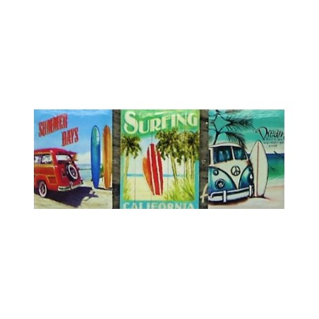 Set 3 Magnets Surfing Grès Céramique Taille 6x8cm