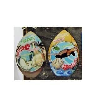 Set 2 Magnets Seashell Grès Céramique Taille 6x8cm