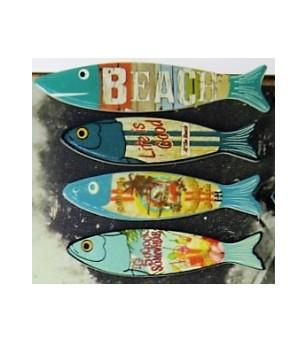 Set 4 Magnet Fish Grès Céramique Taille 6x8cm