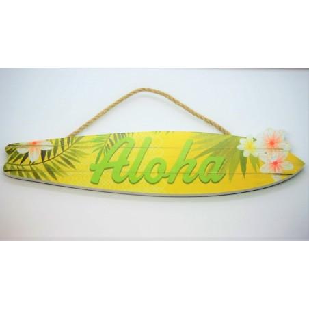 Plaque déco Surf Aloha Matiére Mdf Taille 38x8x0.8cm