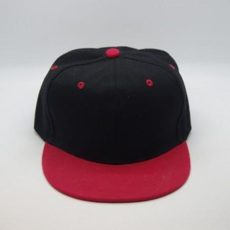 Casquette  Snapback Noire Visière Rouge