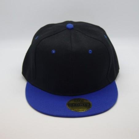 Casquette  Snapback Noire Visière Bleu